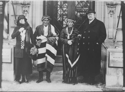 George and Thea Heye with Wey-hu-si-wa (Zuni), governor of Zuni Pueblo at the ti