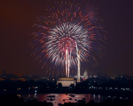 Fireworks over Washington Monument