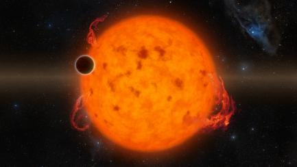 rendering of small planet orbiting a sun