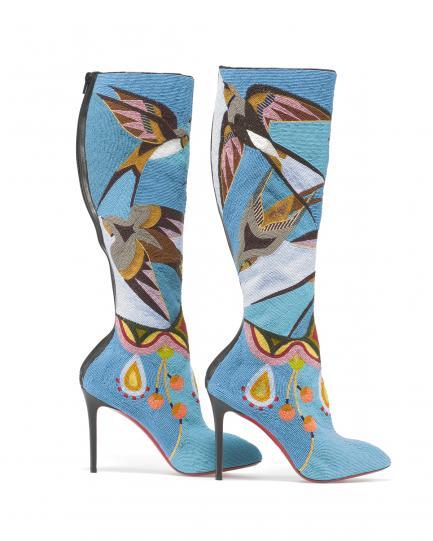 Embellished blue spike heel boots