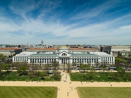 Aerial view of NMNH building on the National Mall