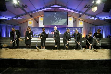 enior staff and members of the National Museum of African American History and Culture Council break ground for the new museum