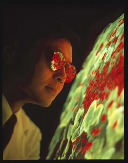 portrait of David Ho wearing reflective glasses