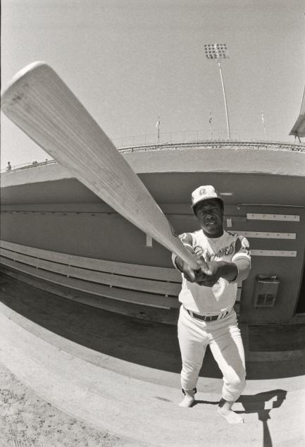 Hank Aaron with bat