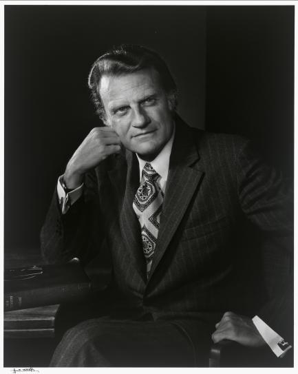 Black and white photo of Billy Graham