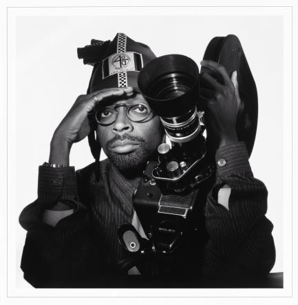 portrait of Spike Lee with film camera