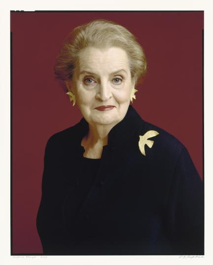 Color portrait of Madeleine Albright wearing bird pin