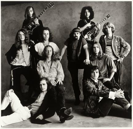 Black and white photo of rock musicians