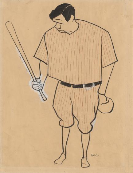 sketch of Ruth holding bat