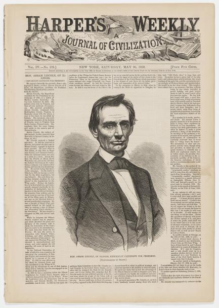 Portrait of Lincoln on front page pf Harpers Weekly