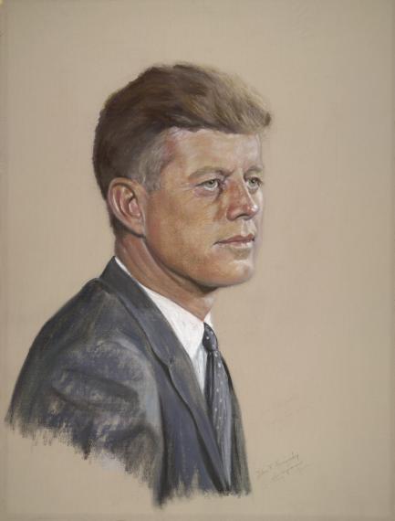 pastel portrait of John F Kennedy