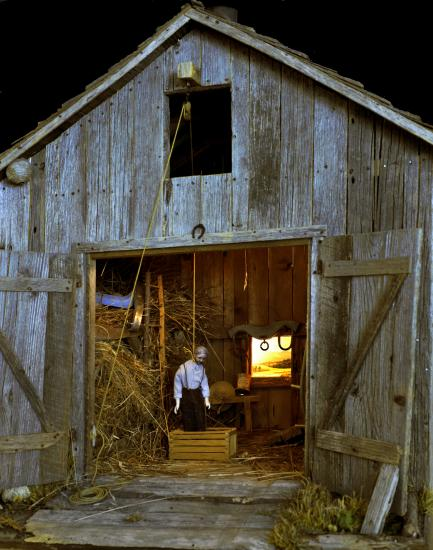 Model of man hanging in barn