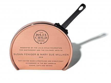 Julia Child Award resembling copper skillet