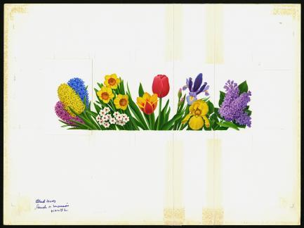 stamp art of spring flowers