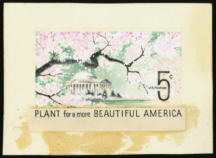 Stamp with cherry blossoms