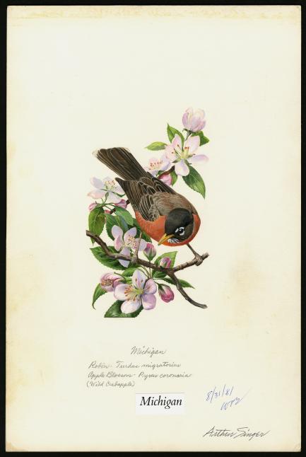 stamp art of robin