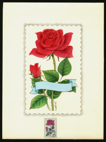 stamp art of rose