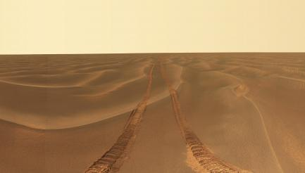 Mars surface with tire tracks