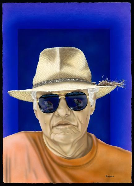 Portrait pf man wearing hat and sunglasses