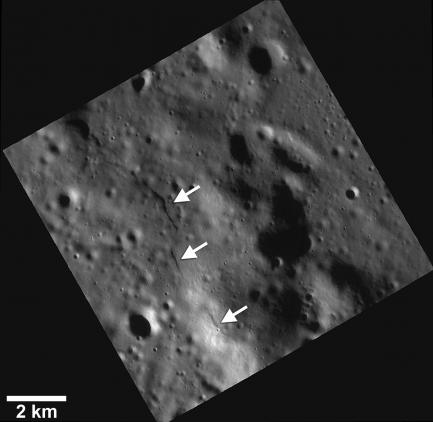 Black and white image of Mercury's surface