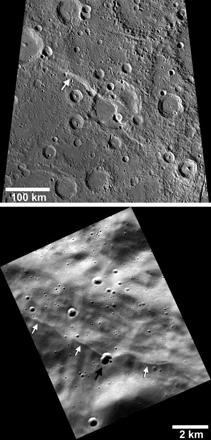 Black and white images of Mercury's surface