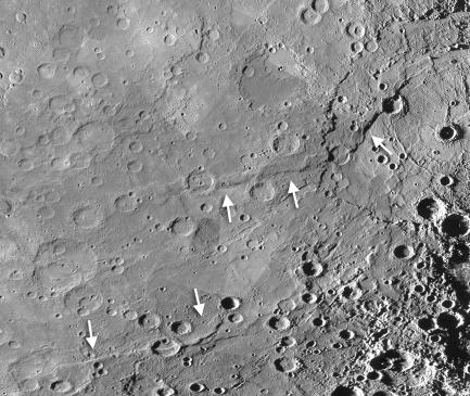 Black and white image of Mercury's surface