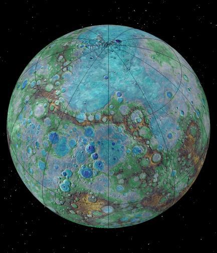 Colorized image of planet Mercury