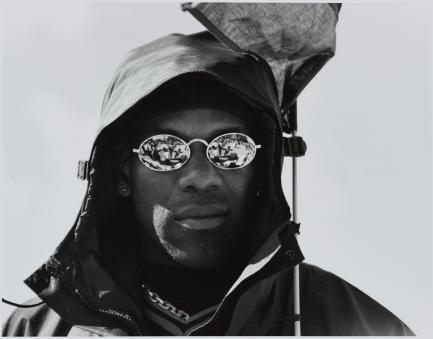 Portrait of man wearing mirrored sunglasses