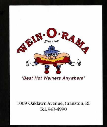 menu for Wein-o-rama restaurant