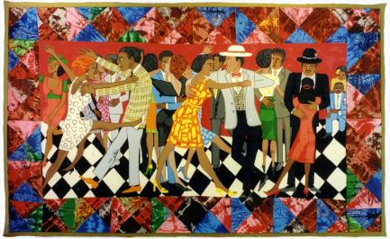 Colorful quilt featuring musicians