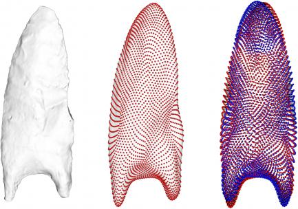 Colorized comparison of three stone tools