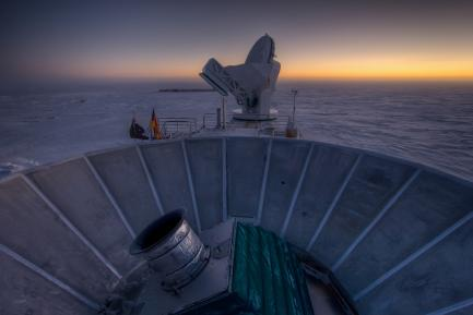 BICEP2 telescope at the South Pole