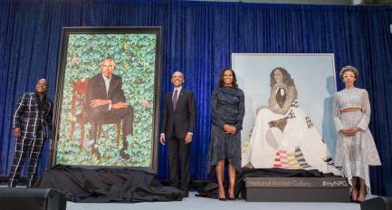 Obamas with their portraitds