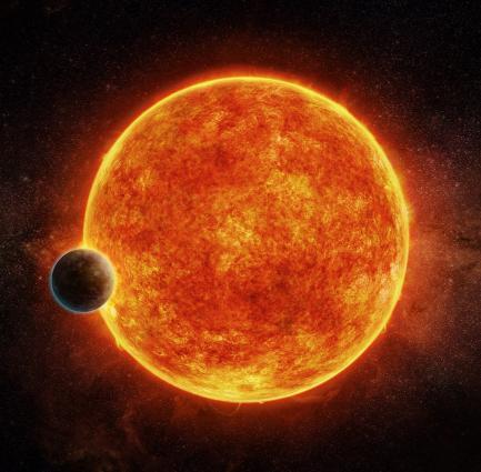 Artists rendering of planet orbiting sun