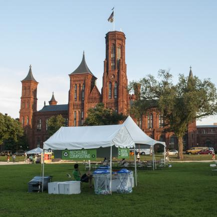 recycling tent on the mall with castle in the background