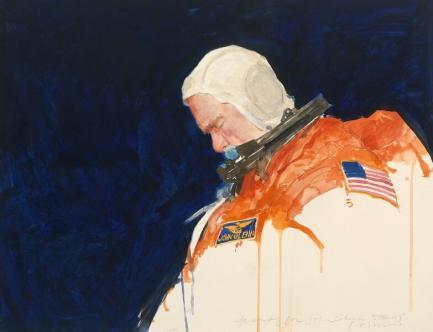 Impressionistic painting of John Glenn in orange flight gear