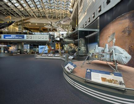 Milestones Hall with Viking lander in foreground