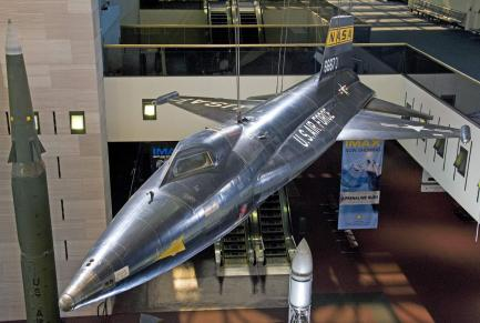 North American X-15 on display in the Boeing Milestones of Flight Hall