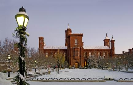 Smithsonian Castle and Haupt Garden in snow