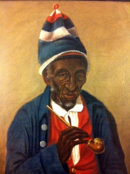 colorful portrait of older black man wearing knit hat