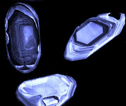 magnified zircon crystals