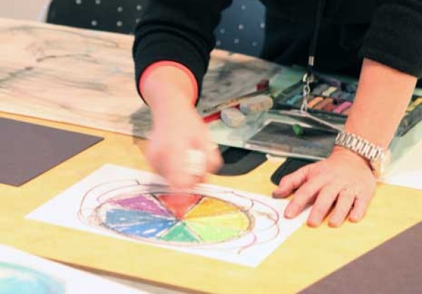 working with art materials