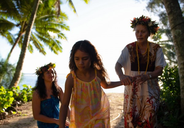 Vai looks on at her daughter Mata, filmed in Kuki Airani, one of seven Pacific Nations featured in Vai (2019).