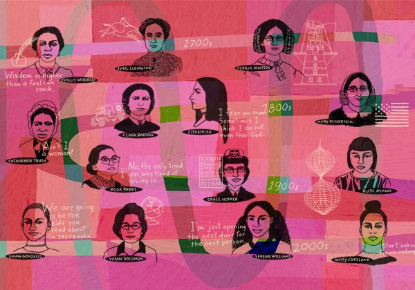 colorful collage of women and girls.