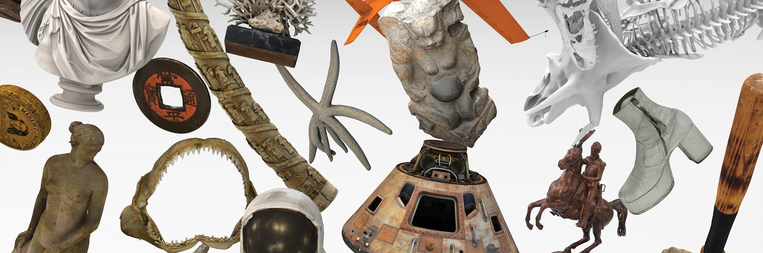 Objects from the Apollo 11 command module to starfish to artworks.