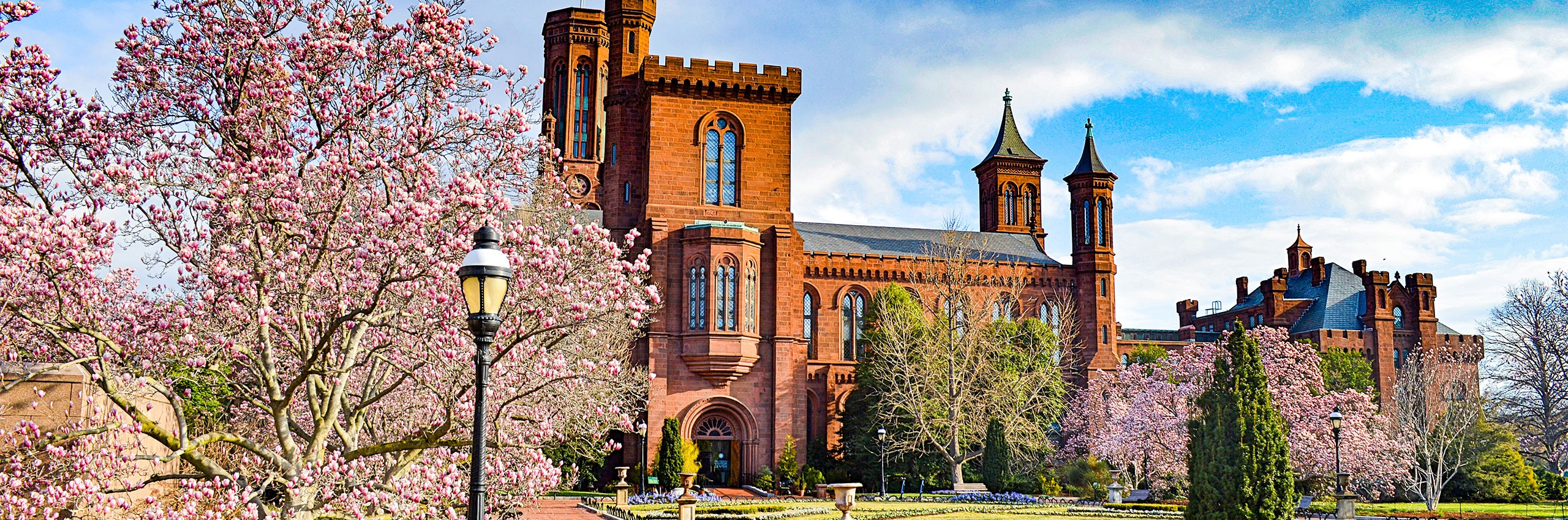 Smithsonian Castle in spring.