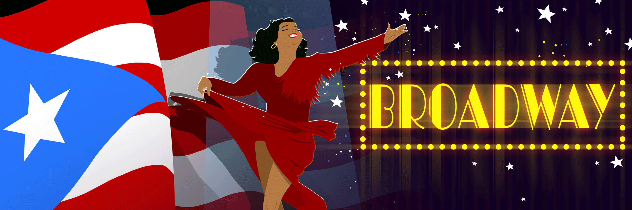 Woman in red dress with Puerto Rican Flag and Broadway sign