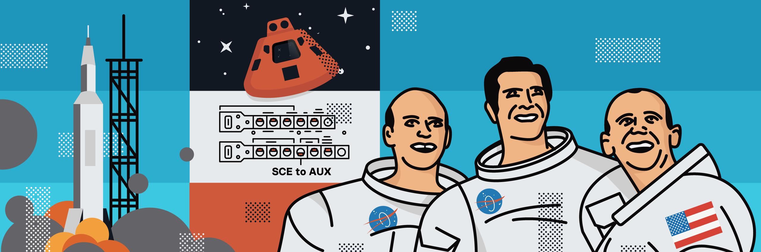 Apollo 12 crew and command module.