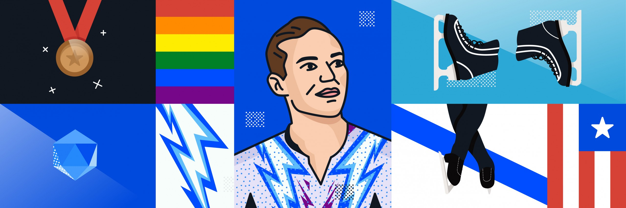 Illustration of Adam Rippon with skates and flags.