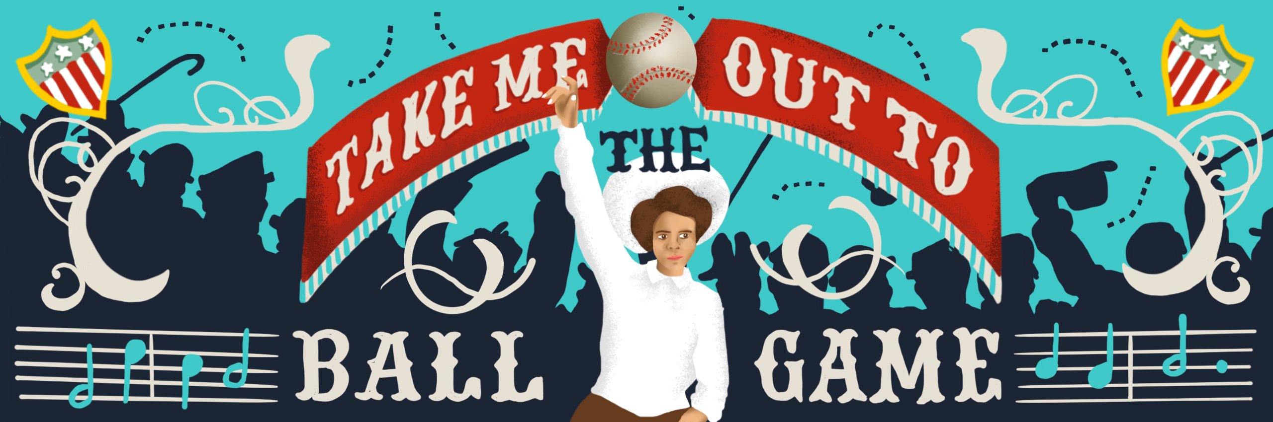 Take me out to the ball came and woman fan illustrated.